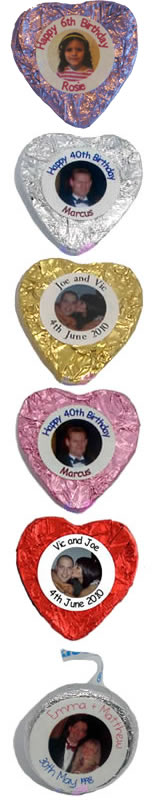 Personalised heart chocolates
