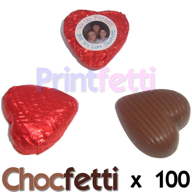 100 Red Chocfetti Hearts Personalised Chocolates